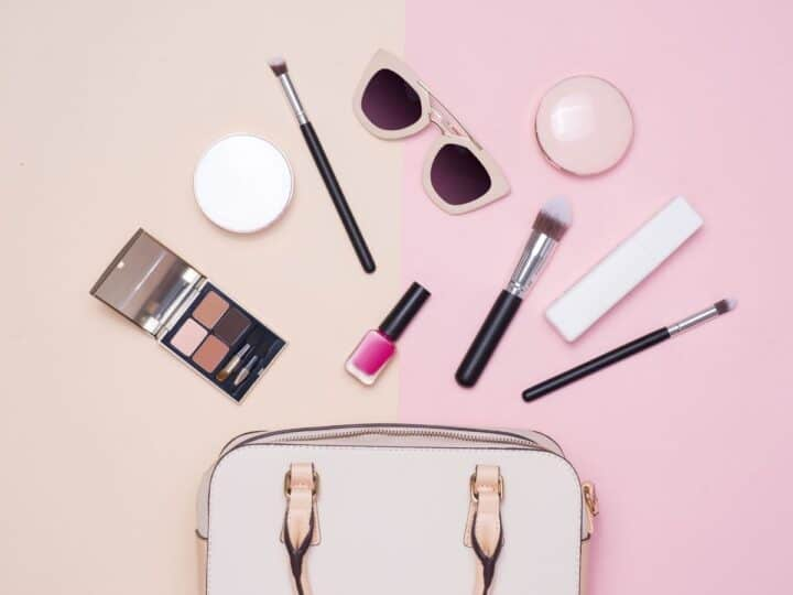 a bunch of women's accessories and beauty products