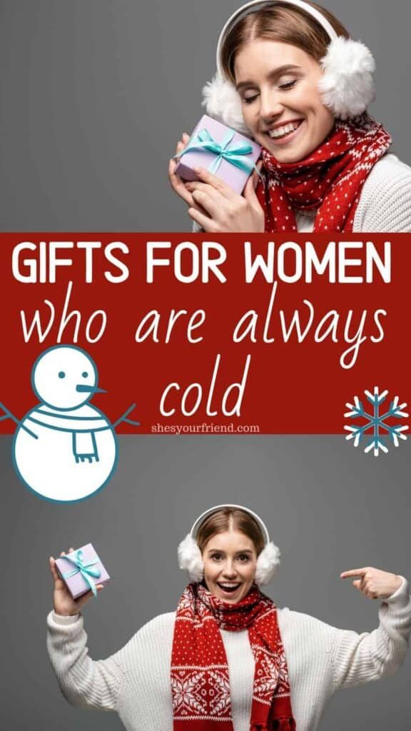 woman in warm winter clothes holding a gift