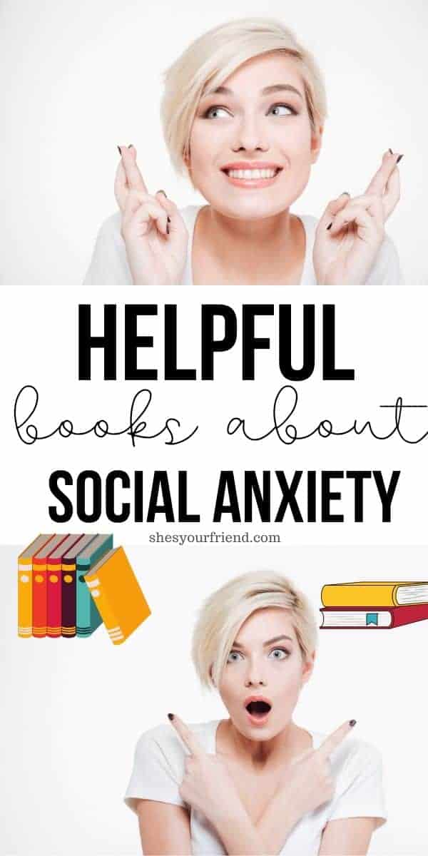 a woman with social anxiety and some books