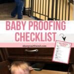 baby proofing checklist with a young child shown