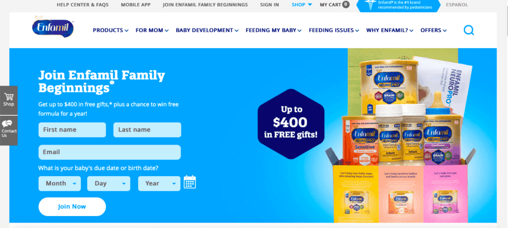 baby freebies offered to new moms by Enfamil