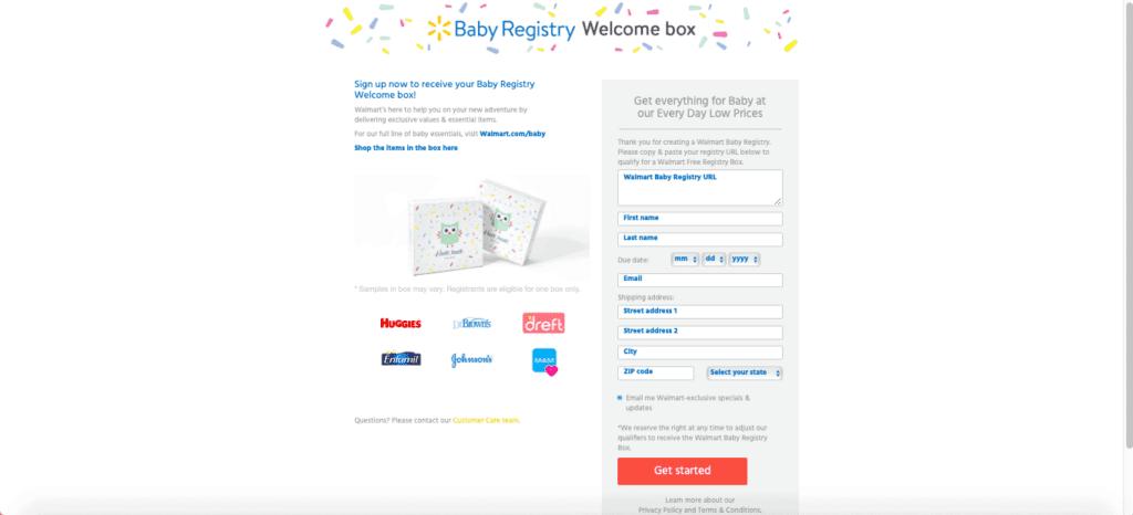 screenshot of walmart baby box site