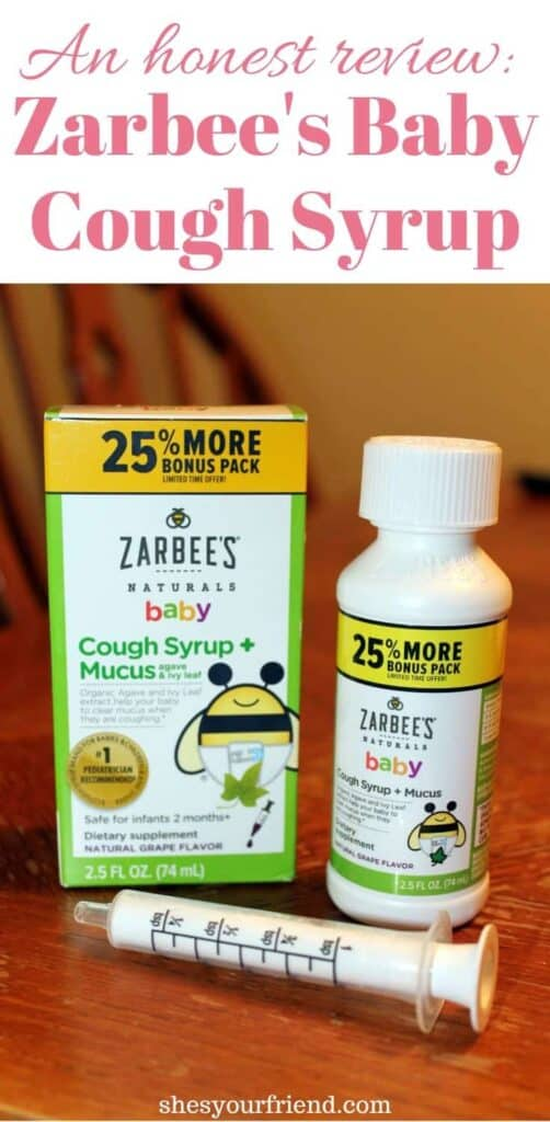 a close up image of zarbee's baby cough syrup