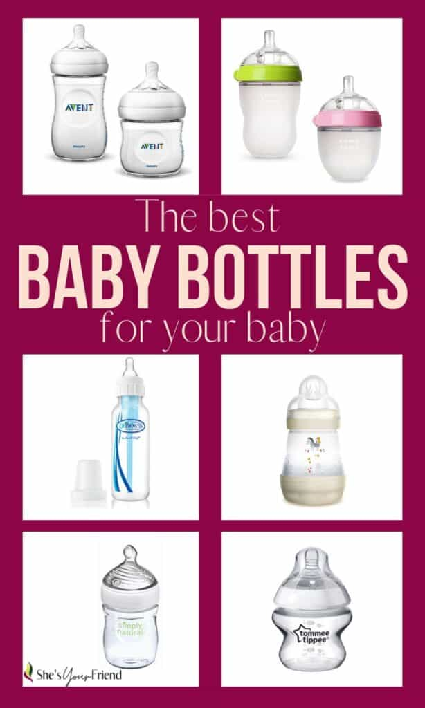 collage of six different brands of baby bottles and text overlay that reads the best baby bottles for your baby