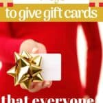 a woman holding a gift card out to give to someone