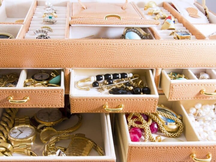 a jewelry box filled with jewelry