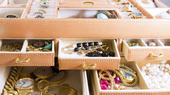 a jewelry box filled with elegant and luxurious jewelry