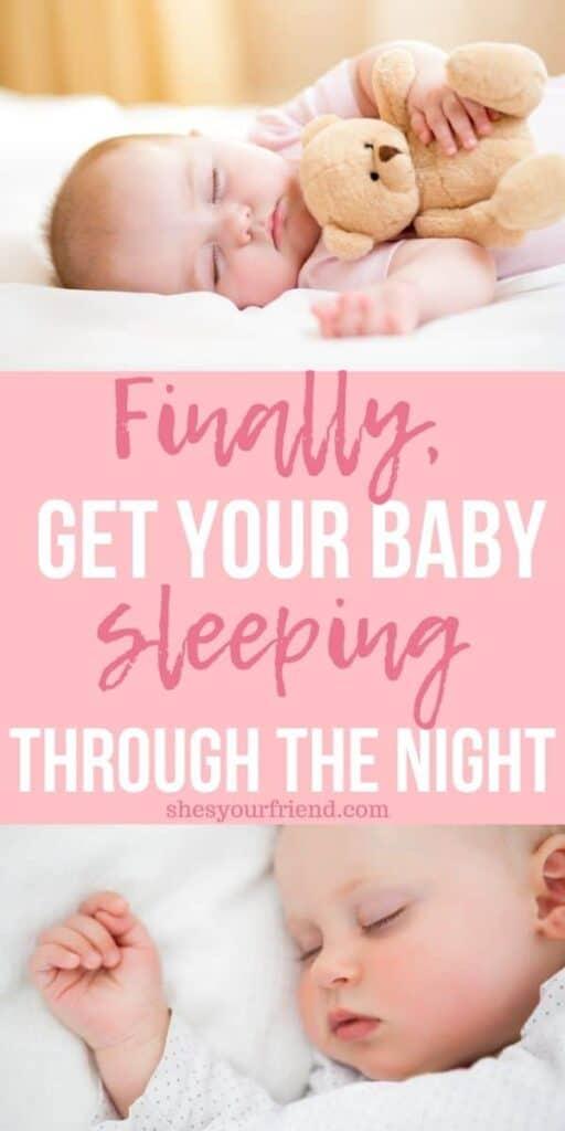 a baby sleeping in a crib with a teddy bear
