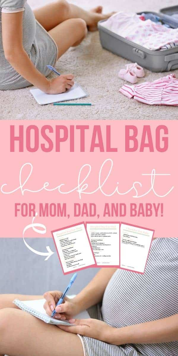 collage of a pregnant mom packing her hospital bag with text overlay that reads hospital bag checklist for mom dad and baby