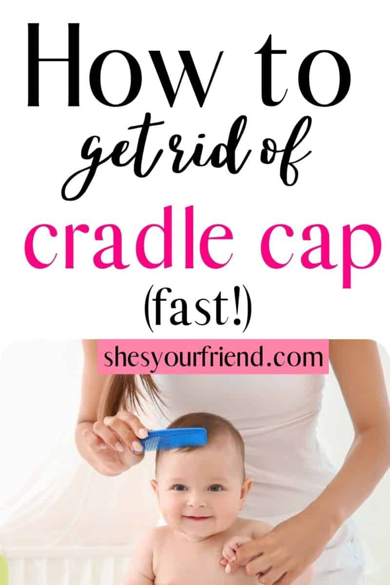 a mom combing cradle cap out of her baby's head