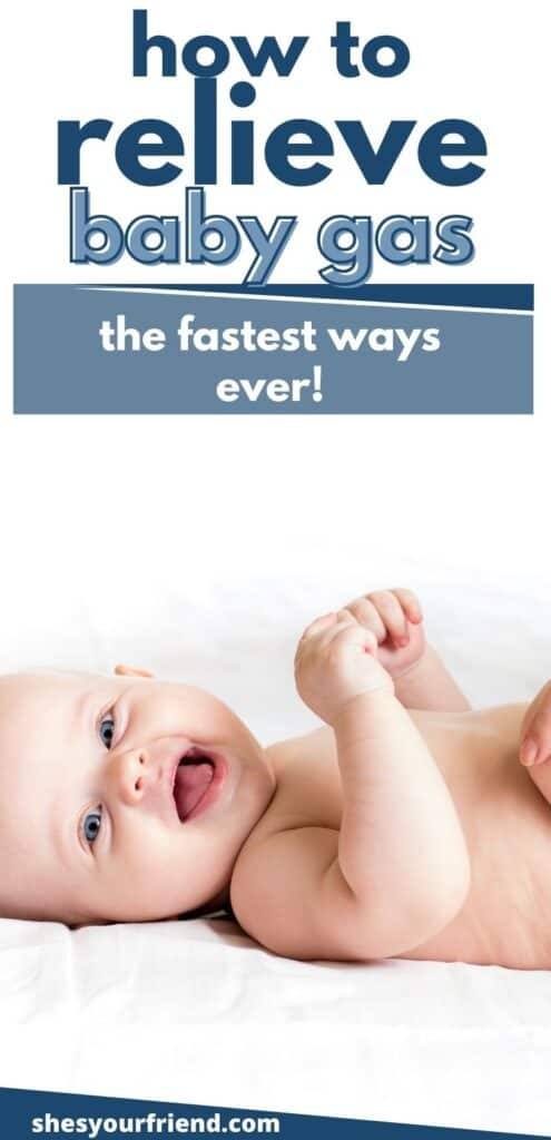a smiling baby with text overlay that reads how to relieve baby gas