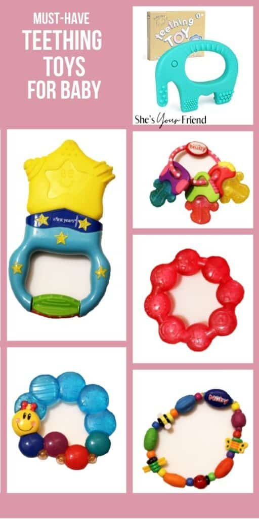 collage of different teething toys with text overlay that reads must have teething toys for baby