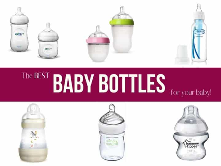 a collage of 6 different brands of baby bottles with text overlay that reads the best baby bottles for your baby