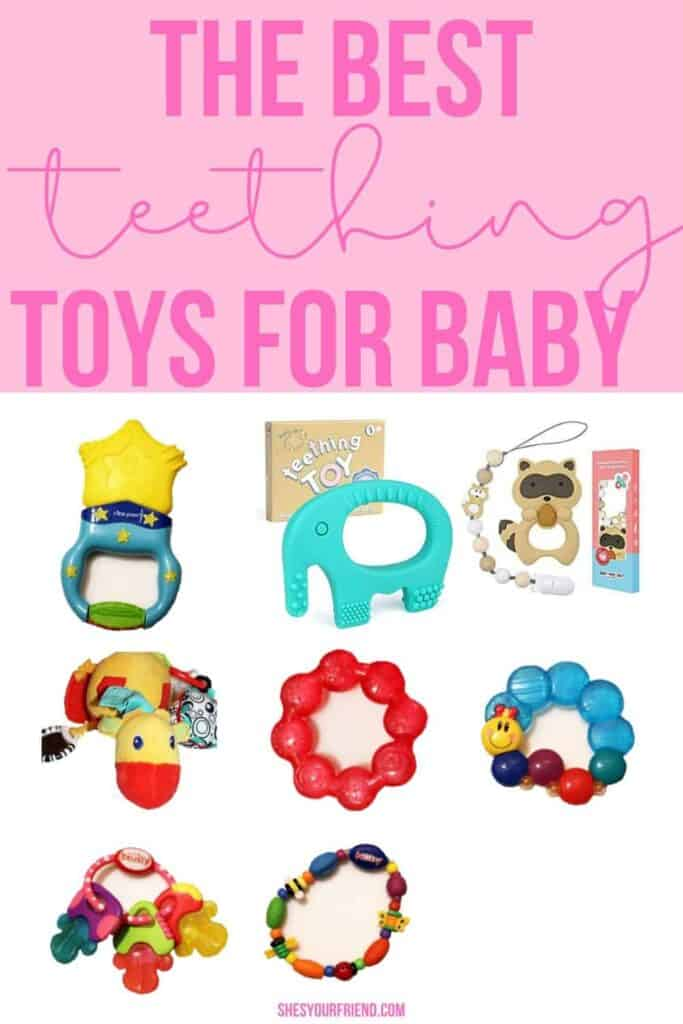 collage of eight different teething toys