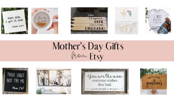 collage of mother's day gifts from etsy