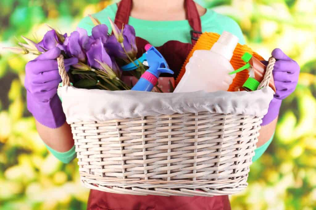a basket full of cleaning supplies