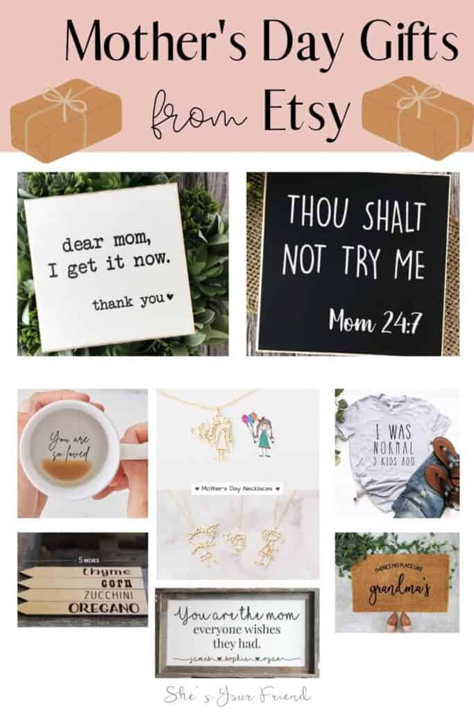 collage of mothers day gifts to make your mom feel special