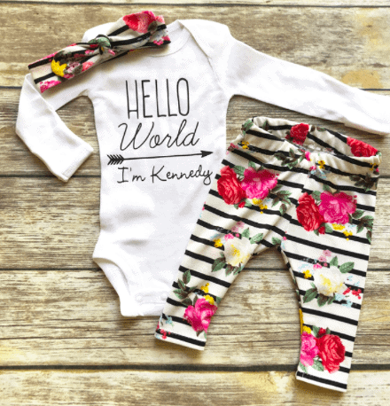 hello world coming home outfit for baby girl