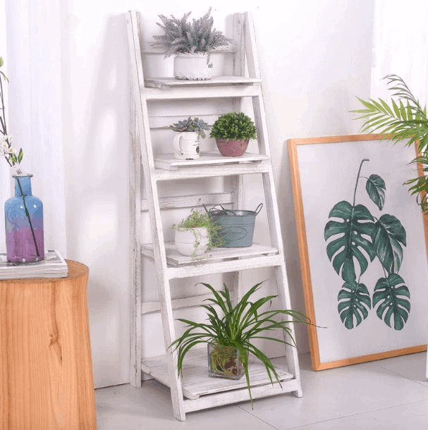 white foldable plant stand
