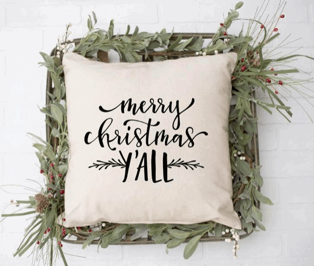 merry christmas y'all throw pillow