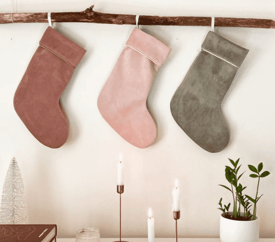 three colorful farmhouse stockings