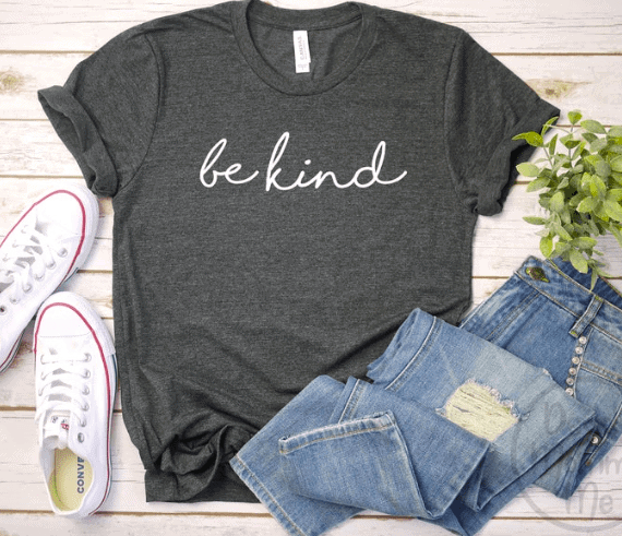 gray shirt with be kind printed on it