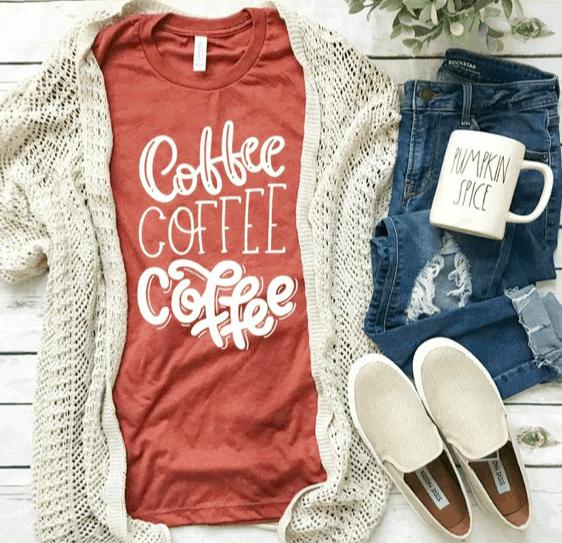 orange shirt that says coffee coffee coffee