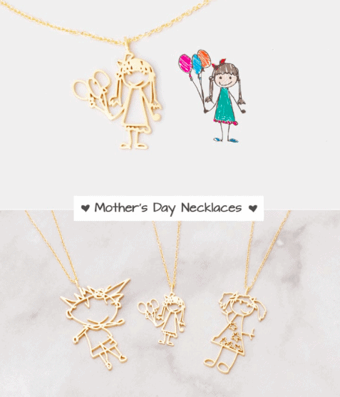 kids drawing turned into a necklace
