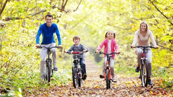 a family bicycling together