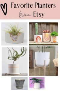 collage of 6 different planters from etsy