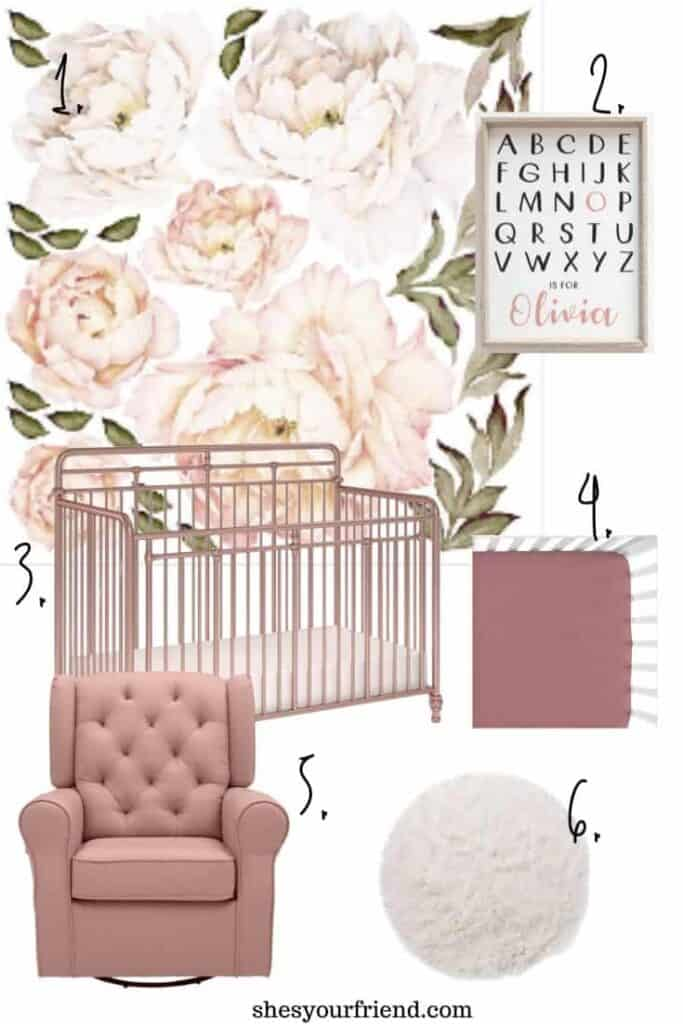 peony pink and blush nursery inspiration collage