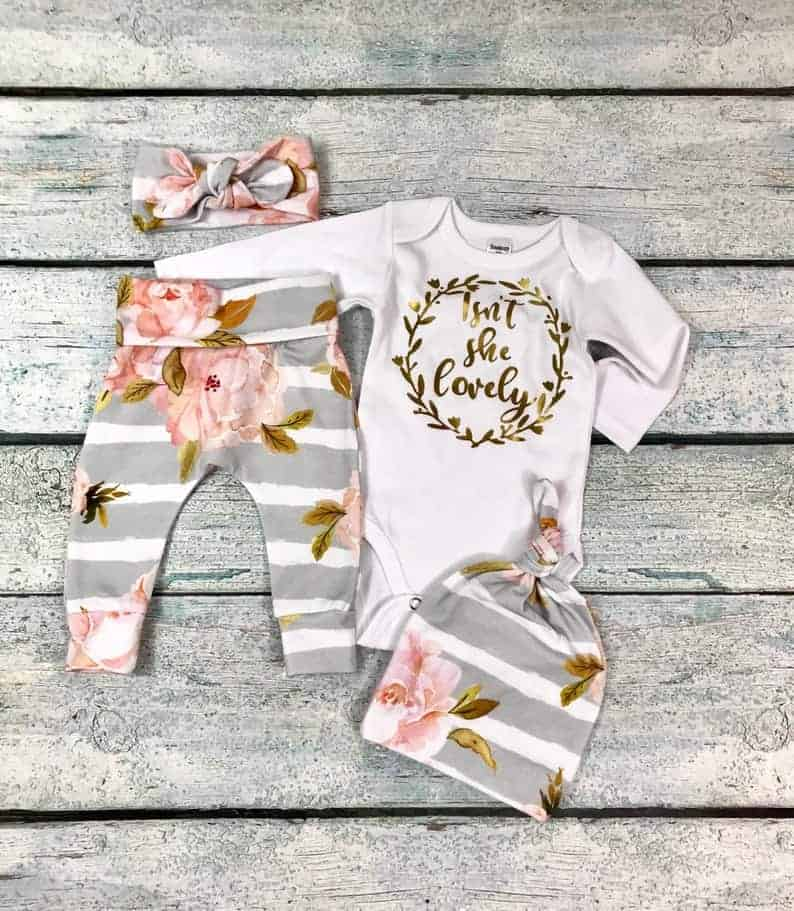 isn't she lovey onesie for baby girl