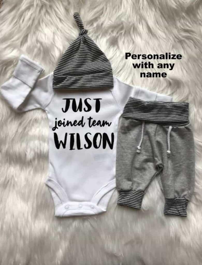 just joined team personalized going home outfit for baby boy