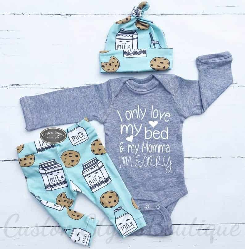 milk and cookie outfit for baby boy