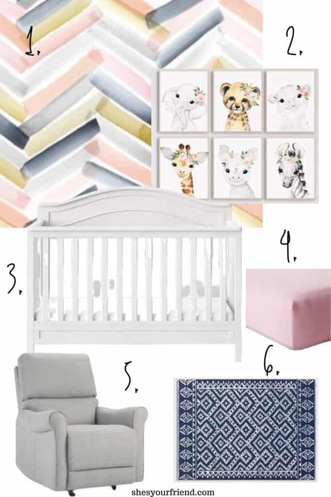 navy and blush safari nursery collage of images