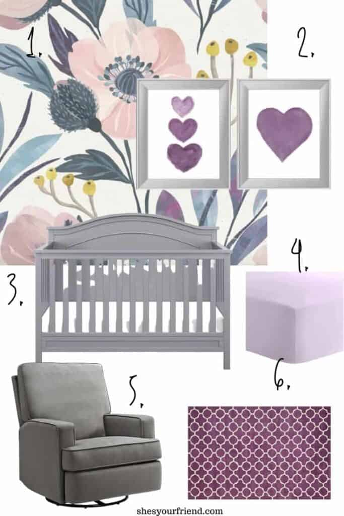 blue purple and light pink nursery inspiration for a baby girl