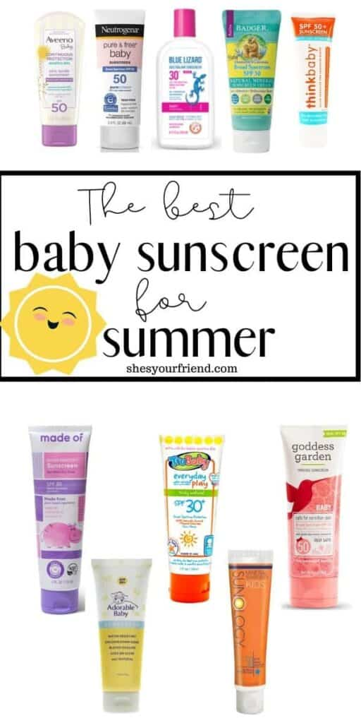 a bunch of sunscreens for babies and kids