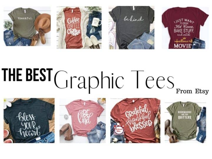 collage of 8 different graphic t shirts for women with text overlay that reads the best graphic tees from etsy