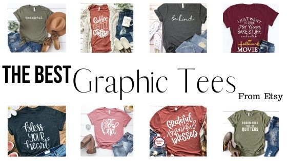collage of t-shirts from etsy