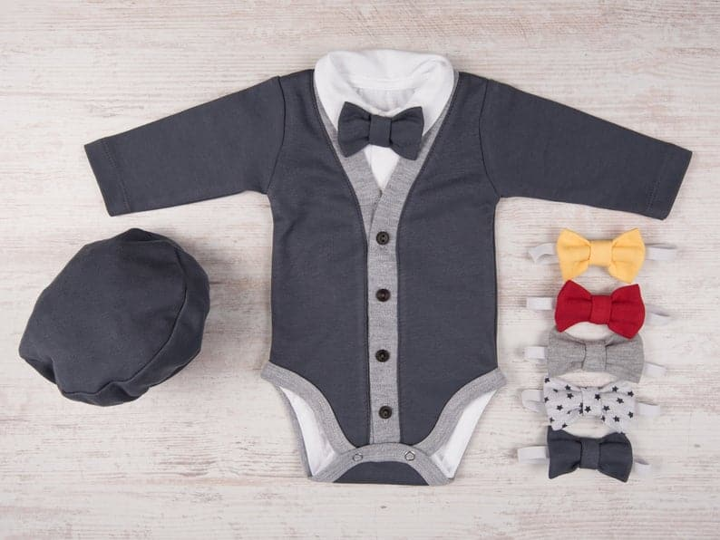 a charming tuxedo cardigan going home outfit for a baby boy
