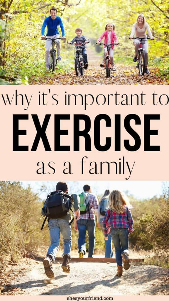 a family exercising and staying active together