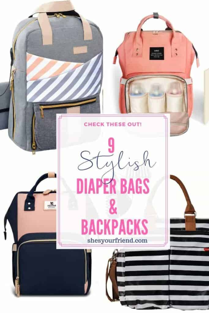 collage of stylish diaper bags and backpacks