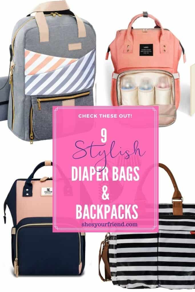 collage of four different stylish diaper bags