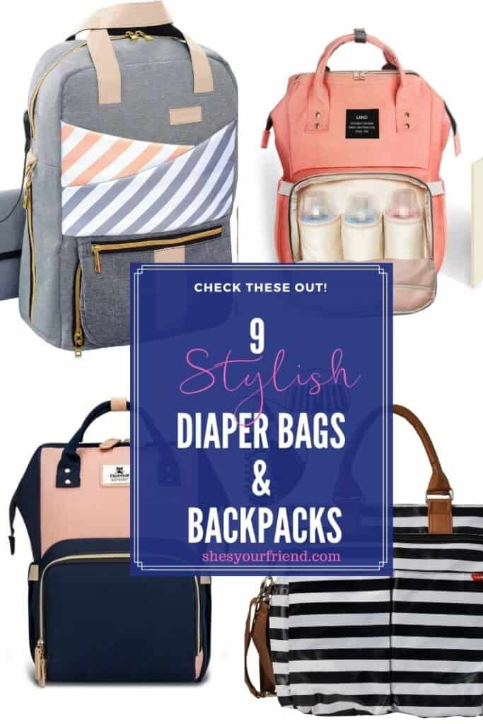 collage of four different diaper bags and backpacks