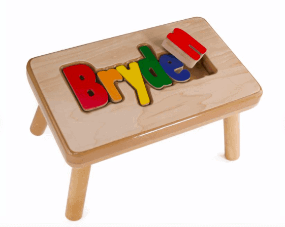 name puzzle stool from etsy