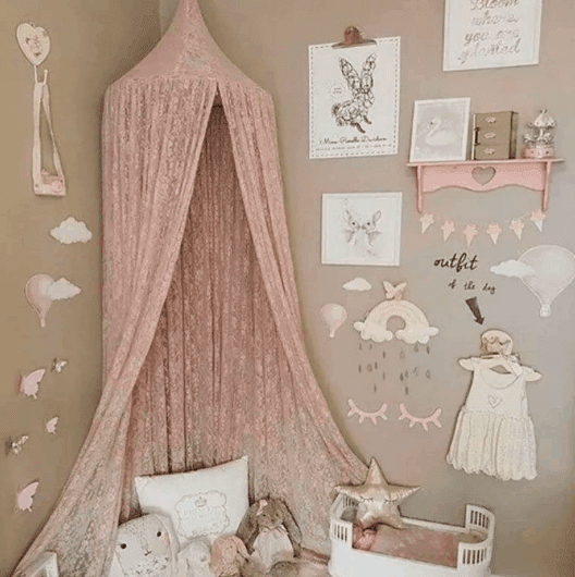 pink lace hanging canopy