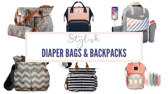 collage of stylish diaper bags and backpacks for moms