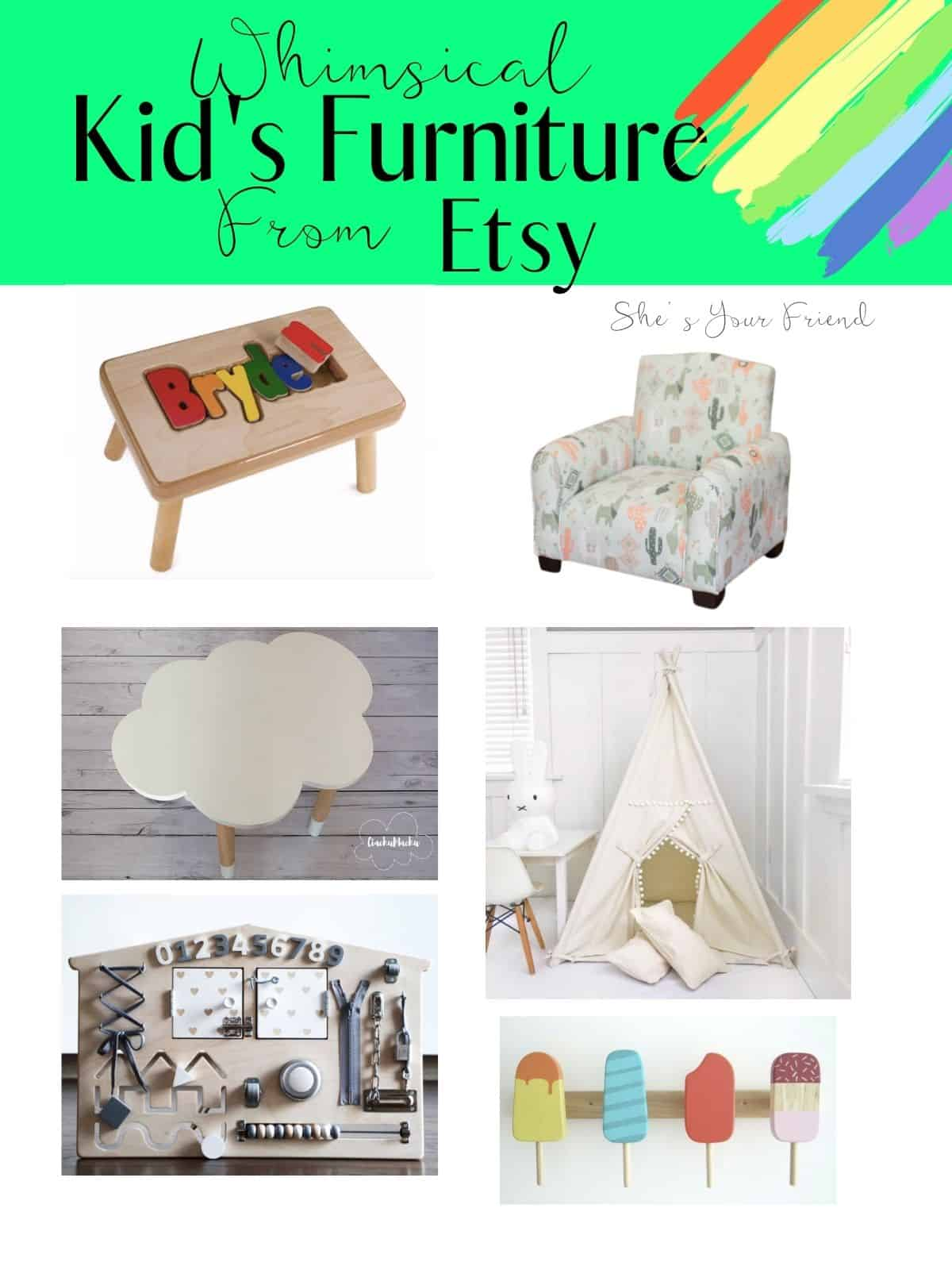 a collage of fun kids play room furniture