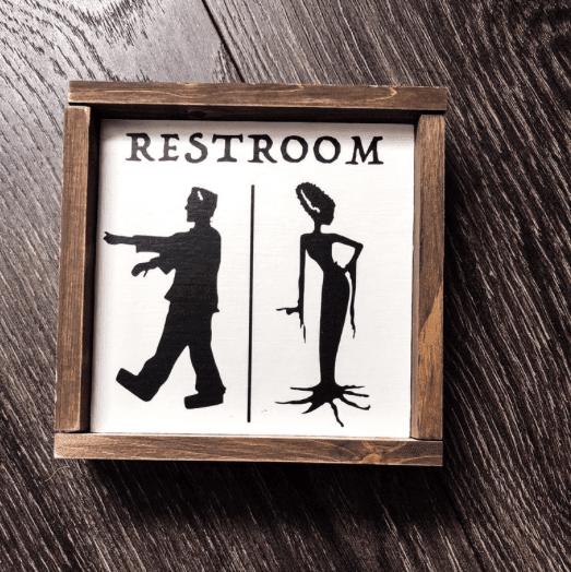 frankenstein bathroom sign for halloween