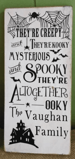 customized adams family inspired sign for halloween